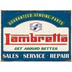 "Red Hot Lemon Schild ""Lambretta Genuine Parts"", Retro-Werbung"