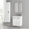 """ACF Bathroom Vanities Cubical 21.9"""" Single Bathroom Vanity Set with Mirror"""