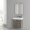 "ACF Bathroom Vanities Cubical 21.9"" Single Bathroom Vanity Set with Mirror"