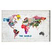 Oliver Gal Hipster Mapa Mundi Graphic Art Wrapped on Canvas