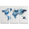 Oliver Gal Mapamundi 3 Piece Graphic Art Wrapped on Canvas Set in Blue