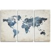 Oliver Gal Mapamundi New Worlds 3 Piece Graphic Art Wrapped on Canvas Set