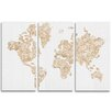 Oliver Gal Mapamundi Gold Floral 3 Piece Graphic Art Wrapped on Canvas Set
