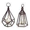 Melrose International 2 Piece Metal Lantern Set