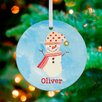 GreenBox Art Polka Dot and Stripes Snowman Personalized Ornament by Winborg Sisters