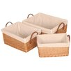 House Additions Willow Lined Shallow Basket 3 Piece Set