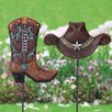 Peeples Cowboy Hat and Boot Plant 2 Piece Garden Stake Set - Loon Peak Garden Statues and Outdoor Accents