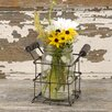 Eichorn Single Mason Jars Glass Pot Planter in Wire Basket with Handles - August Grove Planters