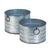Round Galvanized 2-Piece Iron Zinc Alloy Pot Planter Set - Zingz & Thingz Planters