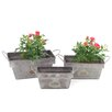Rectangular 3-Piece Iron Pot Planter Set - Zaer Ltd International Planters