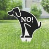 Kraus No Poop Dog Garden Sign - Color: White/Black - Symple Stuff Garden Statues and Outdoor Accents