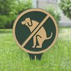 Kroger No Dog Poop Garden Sign - Color: Green/Gold - Symple Stuff Garden Statues and Outdoor Accents
