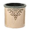 Cadey Round Ceramic Filigree French Pot Planter - Size: 6 inch High x 5 inch Wide x 5 inch Deep - Color: Tan - Ophelia & Co. Planters