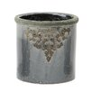 Cadey Round Ceramic Filigree French Pot Planter - Size: 6 inch High x 5 inch Wide x 6 inch Deep - Color: Gray - Ophelia & Co. Planters
