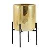 Blaine Table-top Ceramic Pot Planter - Color: Gold - George Oliver Planters