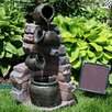 Resin Solar Crumbling Bricks and Pots Outdoor Fountain with LED Light - SunnyDaze Decor Indoor and Outdoor Fountains