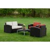 Strata Furniture Cielo 4 Piece Deep Seating Group with Cushion