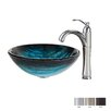 Kraus Ladon Glass Vessel Sink with Riviera Faucet