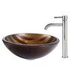 Kraus Bastet Glass Vessel Sink with Ramus Faucet