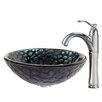 Kraus Kratos Glass Vessel Sink with Riviera Faucet