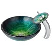 Kraus Nei Glass Vessel Sink with Waterfall Faucet