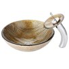 Kraus Terra Glass Vessel Bathroom Sink with Waterfall Faucet