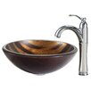 Kraus Bastet Glass Vessel Sink with Riviera Faucet