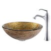 Kraus Terra Glass Vessel Sink with Ventus Faucet