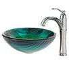 Kraus Glass Vessel Sink with Riviera Faucet