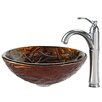 Kraus Dryad Glass Vessel Sink with Riviera Faucet