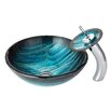 Kraus Ladon Glass Vessel Bathroom Sink with Waterfall Faucet