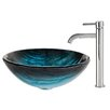 Kraus Ladon Glass Vessel Sink with Ramus Faucet