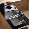 "Kraus 32.75"" x 19"" Undermount Double Bowl 50/50 Kitchen Sink with Faucet and Soap Dispenser"