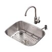 "Kraus Stainless Steel 23"" x 17.6"" Undermount Single Bowl Kitchen Sink with 14.3"" Kitchen Faucet and Soap Dispenser"