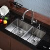 """Kraus 33"""" Undermount 60/40 Double Bowl 16 Gauge Stainless Steel Kitchen Sink"""