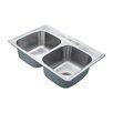 "Kraus 33"" x 22"" 4 Piece Topmount 50/50 Double Bowl Kitchen Sink Set"