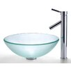 Kraus Frosted Glass Vessel Sink and Sheven Faucet