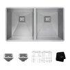 """Kraus Pax™ Zero-Radius 31.5"""" x 18.5"""" 16 Gauge Handmade Undermount 50/50 Double Bowl Stainless Steel Kitchen Sink"""