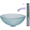 Kraus Frosted Glass Vessel Sink and Ramus Faucet