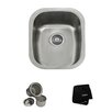 "Kraus 18"" x 15"" 3 Piece Undermount Single Bowl Kitchen Sink Set"