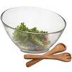Woodard & Charles Glass Angle Salad Bowl with Wood Servers