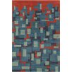 Chandra Rugs Stella Patterned Contemporary Wool Blue/Orange Area Rug