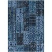 Chandra Rugs Fusion Patterned Knotted Contemporary Blue Area Rug
