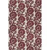 Chandra Rugs Allie Hand Tufted Wool White/Burgundy Area Rug
