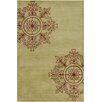 Chandra Rugs Allie Hand Tufted Wool Green/Burgundy Area Rug
