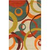 Chandra Rugs Allie Hand Tufted Wool Cream/Teal Green Area Rug