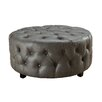 Hokku Designs Odelle Leather Tufted Round Ottoman