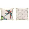Sarah Watts Floral Bird Reversible Printed and Embroidered Throw Pillow