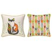 Sarah Watts Sitting Fox Reversible Printed and Embroidered Throw Pillow