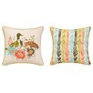 Sarah Watts Duck Among Flower Printed Reversible Throw Pillow